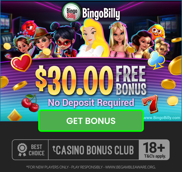 Bingo Billy $30 No deposit bonus